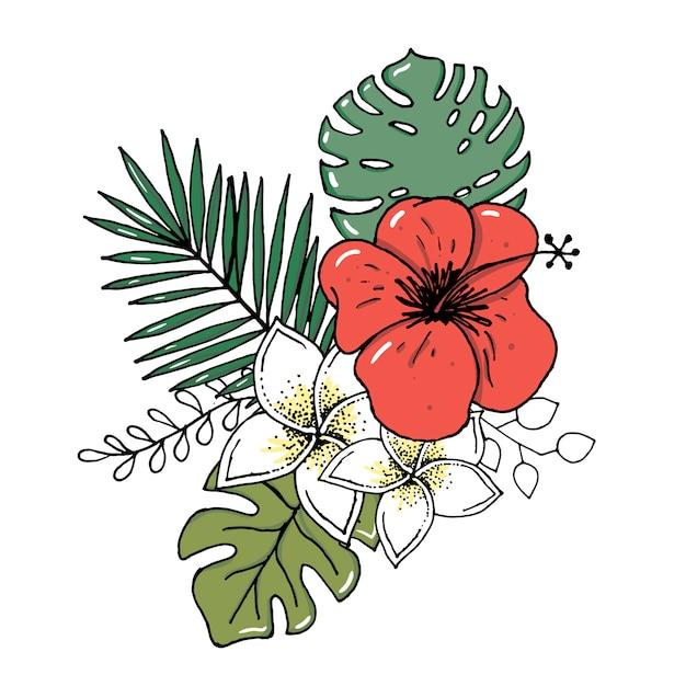 熱帯の葉と花のリアルなイラストセット Premiumベクター
