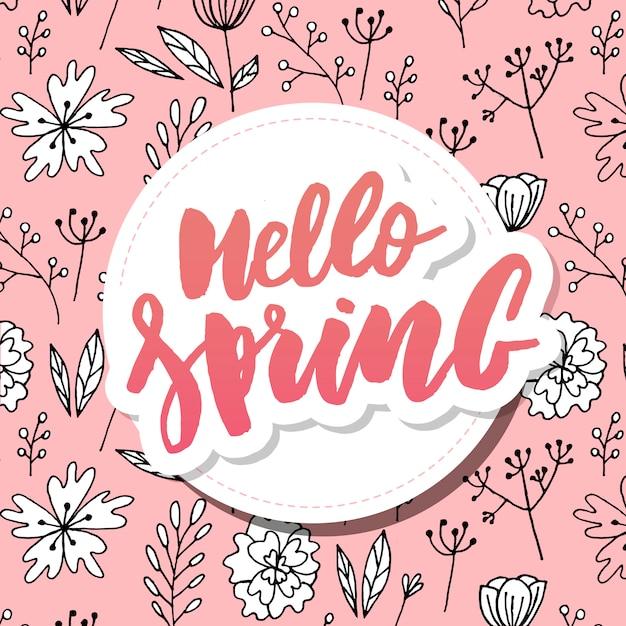 こんにちは春の販売の背景に美しい花 Premiumベクター