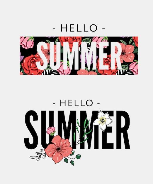 パイナップルと熱帯の花イラスト夏の休日のスローガン Premiumベクター