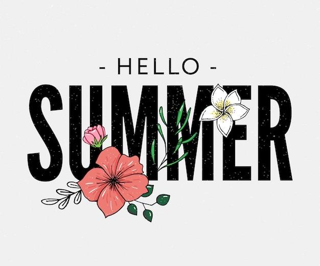 こんにちは夏の熱帯の花のイラストのレタリング Premiumベクター