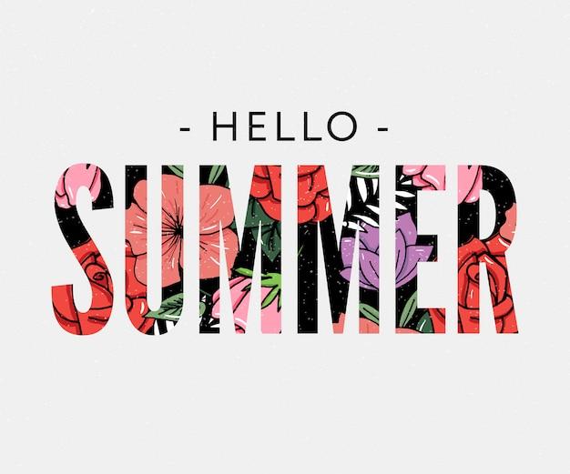 こんにちは夏の休日のスローガン、パイナップルと熱帯の花のイラスト Premiumベクター