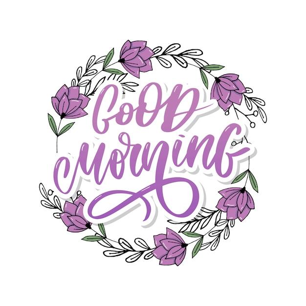 Доброе утро надписи текст слоган каллиграфия Premium векторы