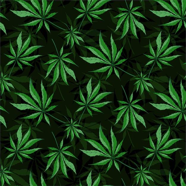 大麻葉のシームレスなパターン Premiumベクター