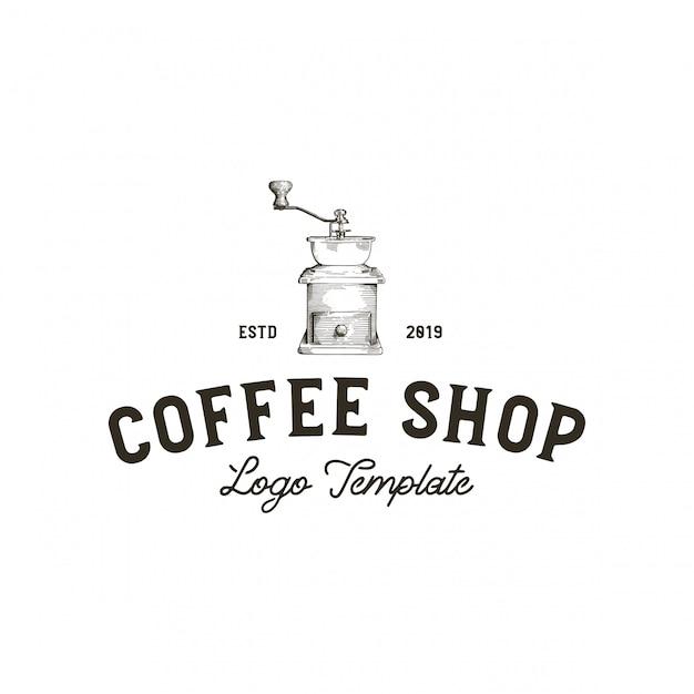 グラインダーコーヒーショップ Premiumベクター