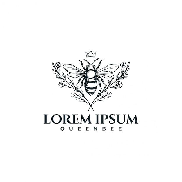 Ручной обращается пчела с цветочным Premium векторы