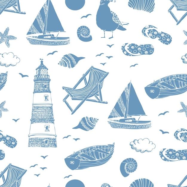 海のパターン 無料ベクター