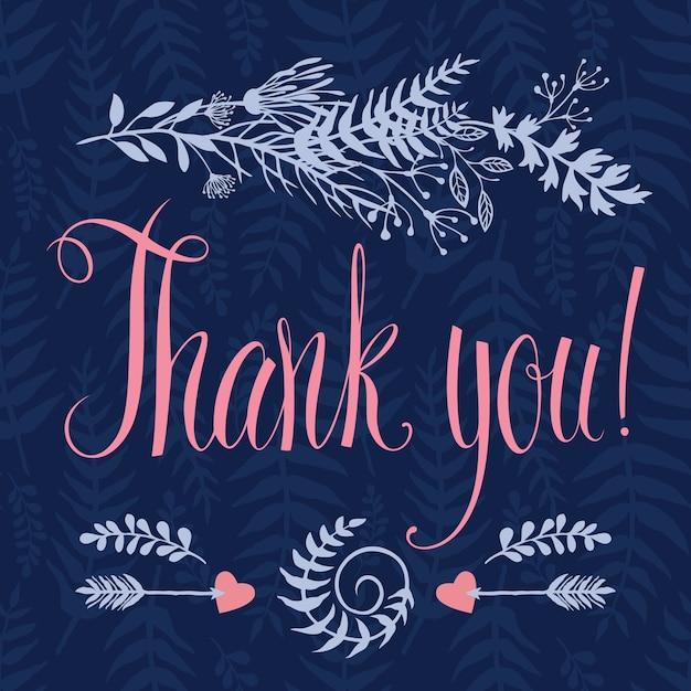 心臓、森林ハーブ、矢、書道ありがとうございます。青い背景 無料ベクター