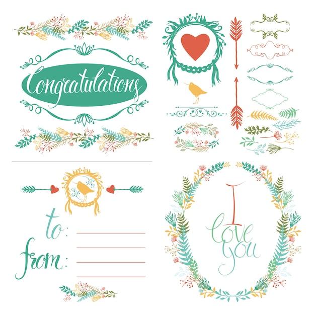 Набор поздравительных открыток и элементов дизайна Бесплатные векторы