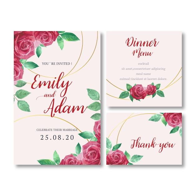 Приглашение на свадьбу с романтической листвой Бесплатные векторы