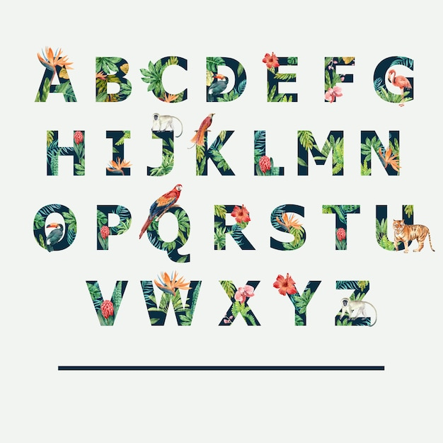 Тропический алфавит Бесплатные векторы
