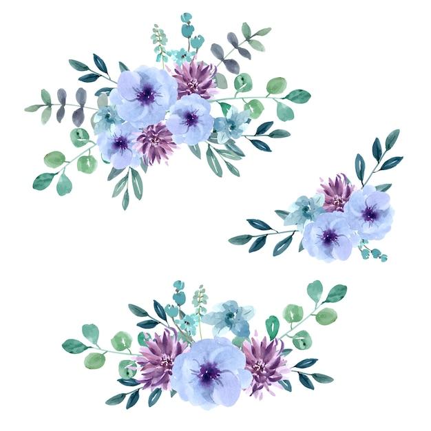 特別な日の花束カード、創造的な水彩画 無料ベクター