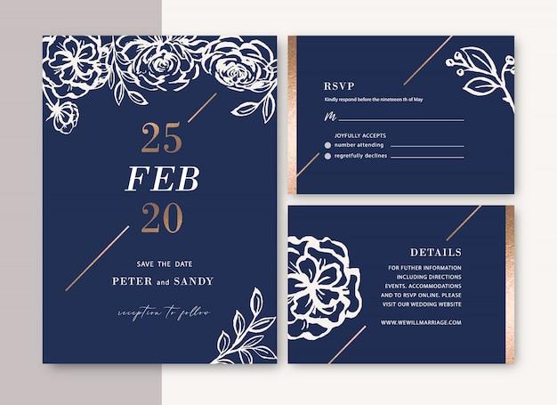 葉との結婚式の招待状ロマンチックで創造的な花の水彩画 無料ベクター