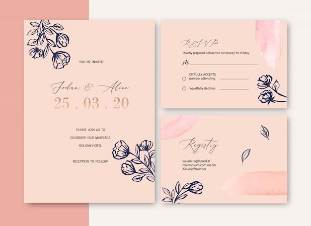Свадебное приглашение с листвой романтическая, креативная цветочная акварель Бесплатные векторы
