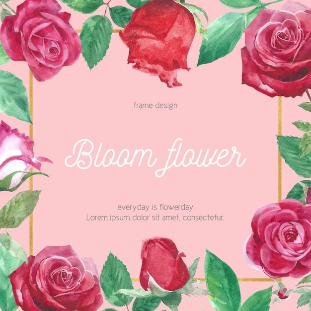 水彩バラの花カード 無料ベクター