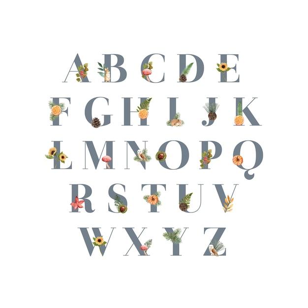 Алфавит с осенней темой Бесплатные векторы