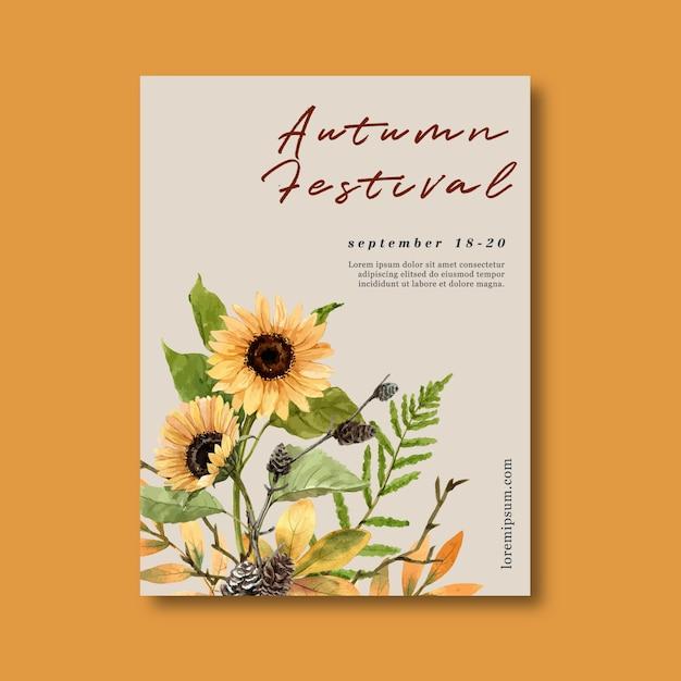 Осенний тематический плакат с растениями Бесплатные векторы