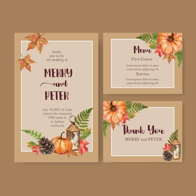 Свадебное приглашение акварель с оранжевой тематикой Бесплатные векторы