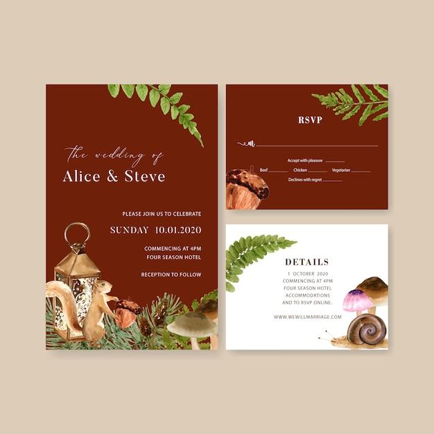 美しい秋をテーマにした結婚式招待状水彩 無料ベクター