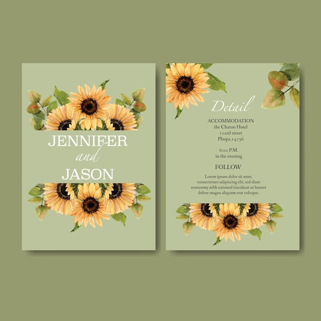 ひまわりをテーマにした結婚式招待状水彩 無料ベクター