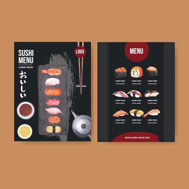 レストランの寿司メニュー。 無料ベクター