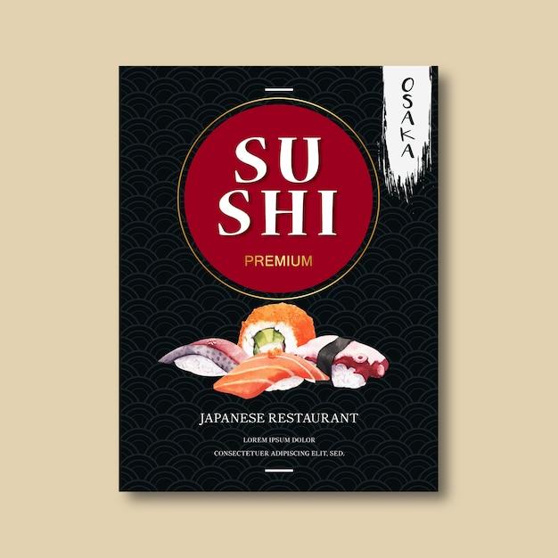 寿司レストランの広告ポスター。 無料ベクター