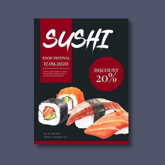 Рекламный плакат для суши-ресторана Бесплатные векторы
