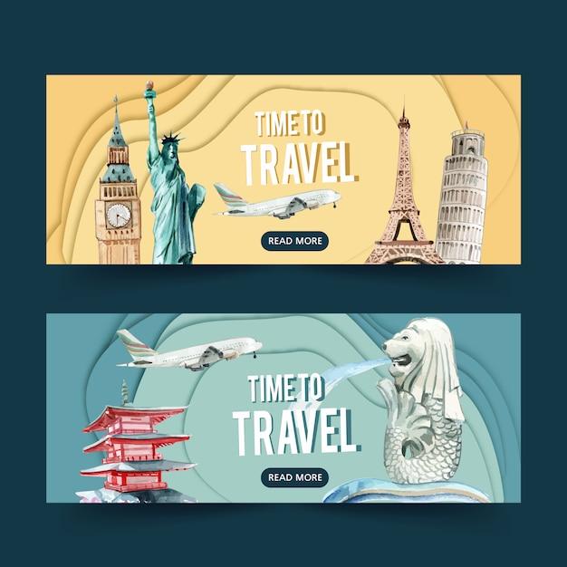 ヨーロッパとアジアのランドマーク、彫像と観光日バナーデザイン 無料ベクター