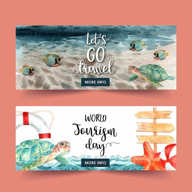 Дизайн баннера дня туризма с морем, волной, рыбой, черепахой Бесплатные векторы