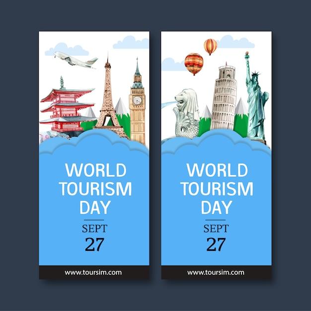 Туристический флаер с мерлионом, часовой башней, пизанской башней. Бесплатные векторы