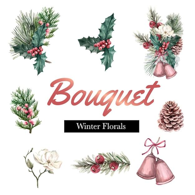 美しいボーダーフレーム装飾のための冬の花束 無料ベクター