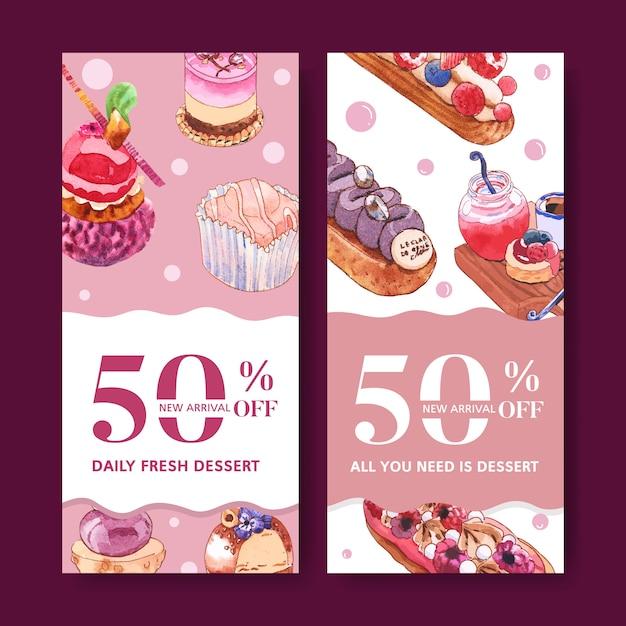 Дизайн рогульки десерта с пирожным, хлебом, творческой иллюстрацией элемента изолированной акварелью. Бесплатные векторы