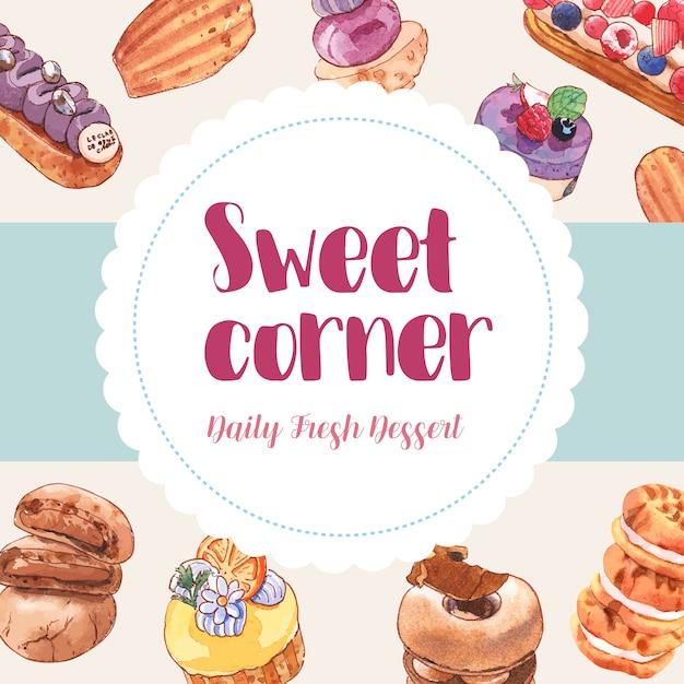 カップケーキ、クッキー、ドーナツの水彩イラストとデザートフレームデザイン。 無料ベクター