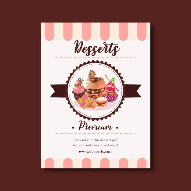 チョコレートケーキ、クッキー、カップケーキ、カスタードクリームの水彩イラストのデザートチラシデザイン。 無料ベクター