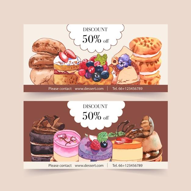 Дизайн ваучера десерта с иллюстрацией акварели пирожного, печенья и сливк. Бесплатные векторы