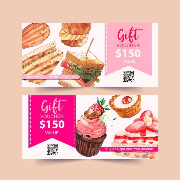 サンドイッチ、シュークリーム、カップケーキ水彩イラストとデザート券デザイン。 無料ベクター