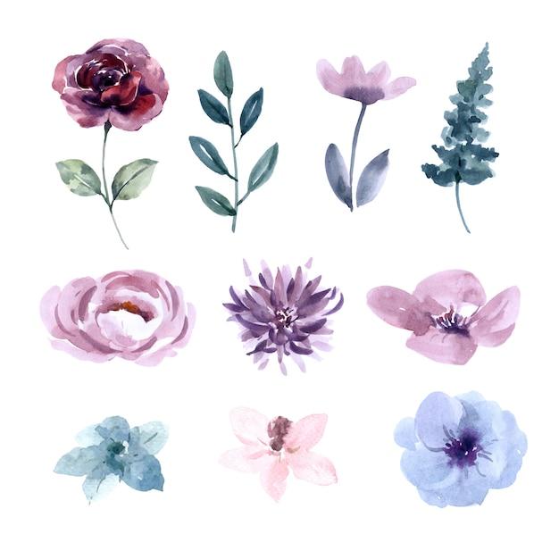 花の結婚式の水彩デザイン要素 無料ベクター