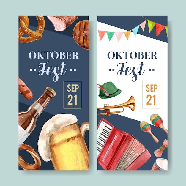 オクトーバーフェストデザインのビール、食品、楽器のチラシ 無料ベクター