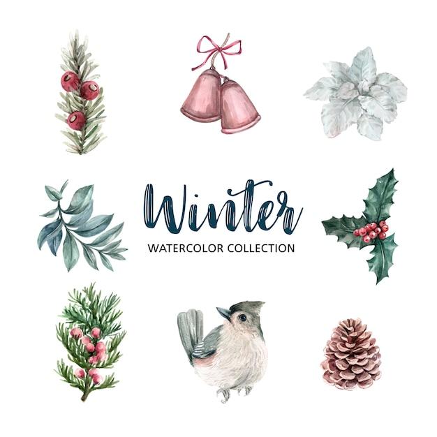 Зимняя тема акварельный дизайн элемент Бесплатные векторы