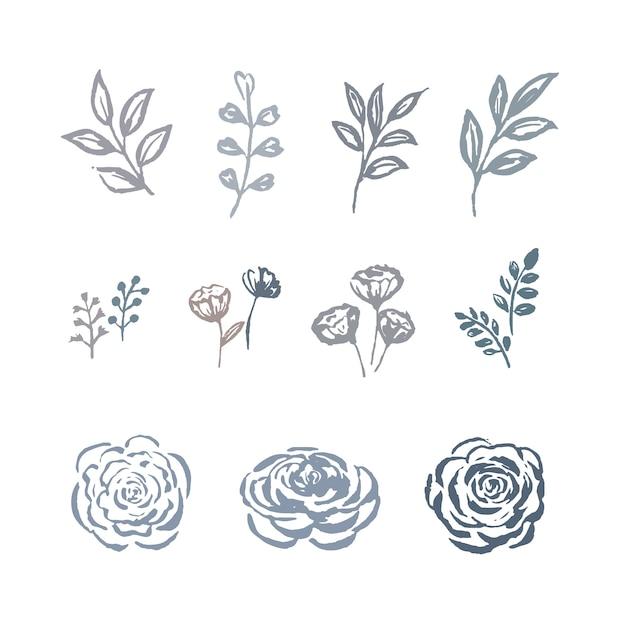 ライン花水彩花、花の植物、植物のイラストセットと葉のスケッチ。 無料ベクター