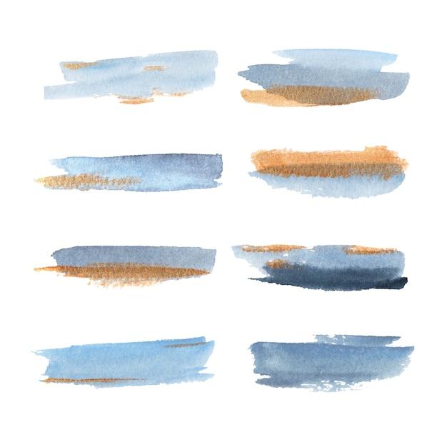 装飾用の黄色と青の混合図と水彩スプラッシュ。 無料ベクター