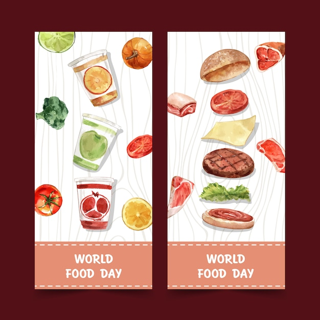 かぼちゃ、ブロッコリー、ハンバーガーの水彩画とイラストの世界食糧日チラシ。 無料ベクター