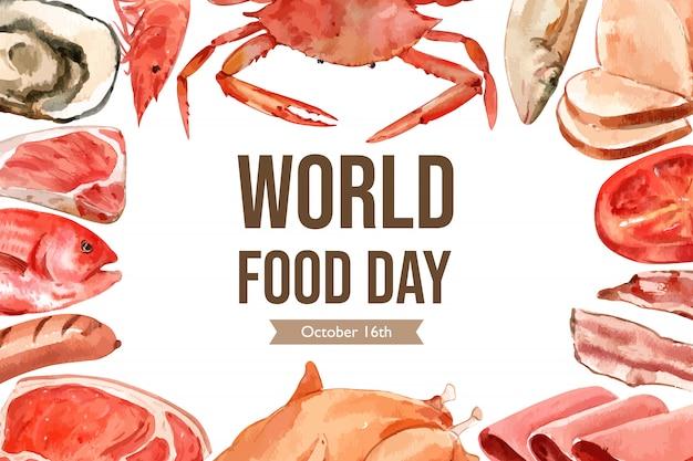 シーフード、肉、ソーセージ、ステーキ、ハムの水彩イラストの世界食糧日フレーム。 無料ベクター