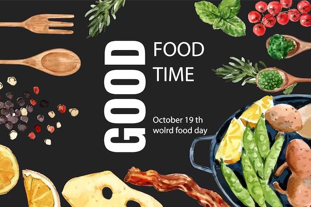 ペパーミント、エンドウ豆、チーズ、ベーコン、サラダの水彩イラストの世界食糧日フレーム。 無料ベクター