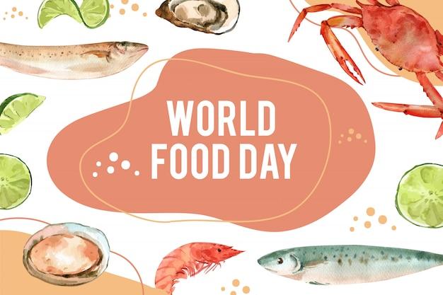 カペリン、カキ、カニ、エビの水彩イラストの世界食糧日フレーム。 無料ベクター
