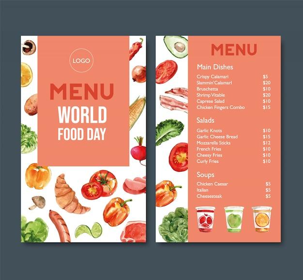 トマト、ピーマン、クロワッサンの水彩イラストの世界料理の日メニュー。 無料ベクター