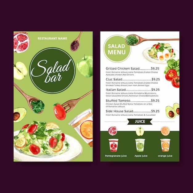 トマト、りんご、緑のオーク、サラダの水彩イラストの世界食糧日メニュー。 無料ベクター