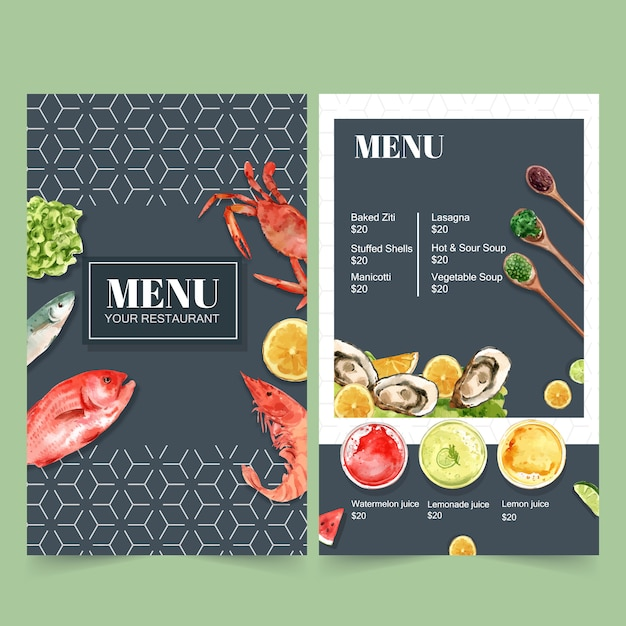 Всемирное продовольственное дневное меню для ресторана. с крабами, рыбой, креветками, акварельными иллюстрациями. Бесплатные векторы