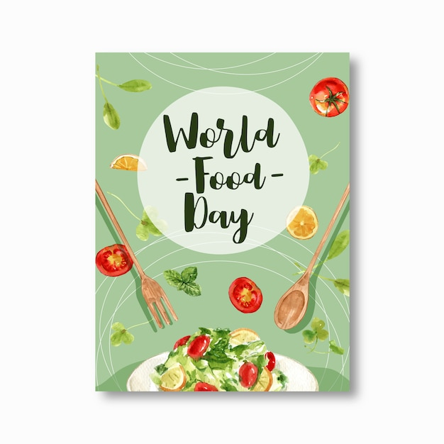サラダ、スプーン、フォーク、トマトの水彩イラストの世界食糧日ポスター。 無料ベクター