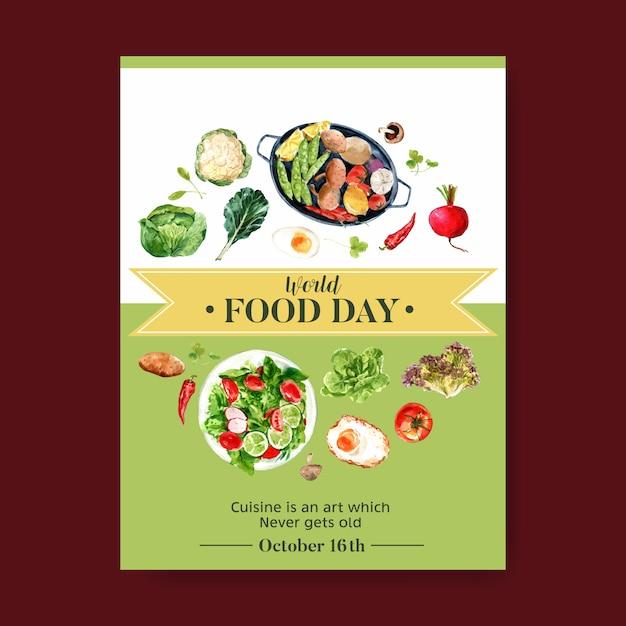 Всемирный день продовольствия плакат с цветной капустой, свеклой, салат, яичница акварельные иллюстрации. Бесплатные векторы