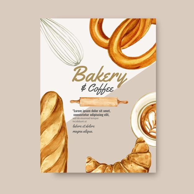 パン屋さんポスターテンプレート。パンとパンのコレクション。ホームメイド 無料ベクター